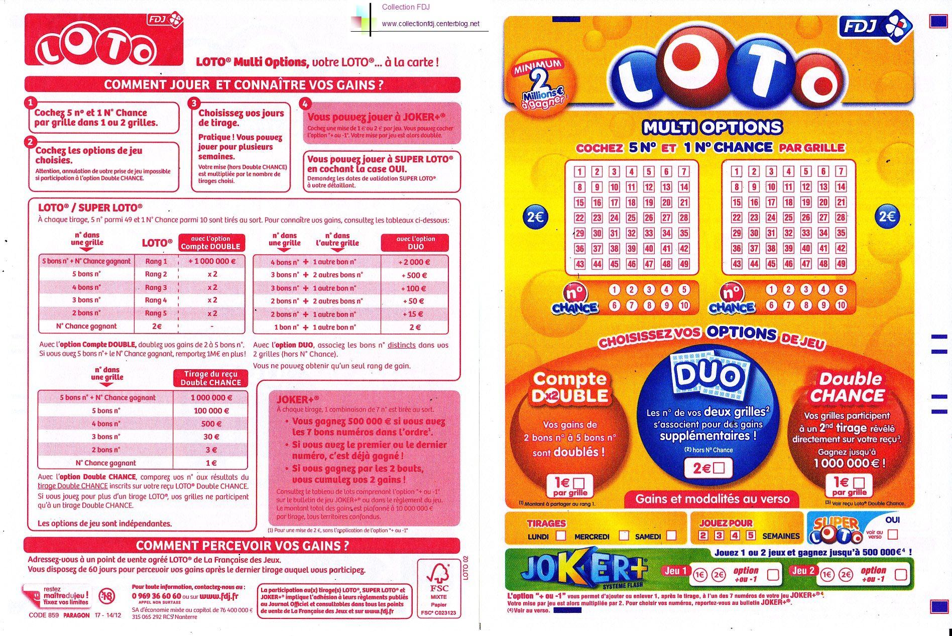 Grille loto multi options - Keno resultat grille gain ...